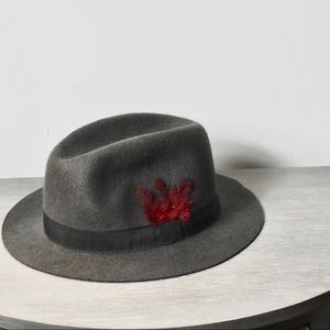 Capelli of New York feathered  fedora hat- grey
